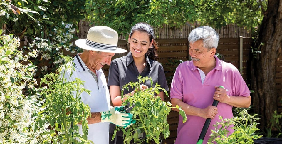 Arcare Home Care Gardening With Support Worker And Friend