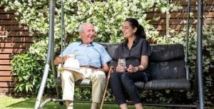Arcare Home Care Sitting In Garden