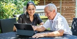 Arcare Home Care IPad In The Garden