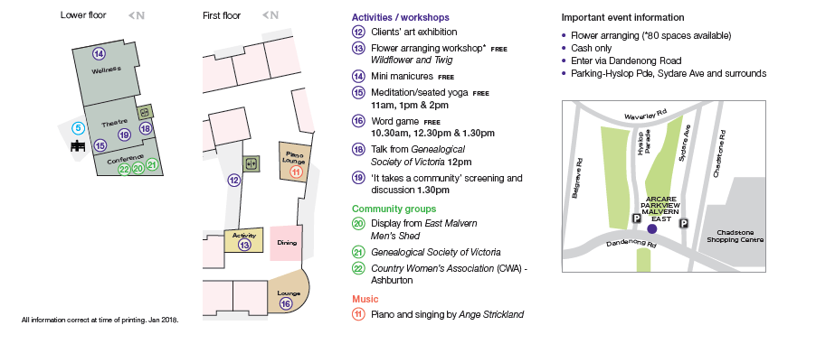 Parkview Malvern East Community Market Day Map and Programme