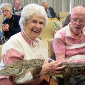 Arcare Aged Care Cheltenham 10.10.19 Photo2 Client And Salt Water Crocodile